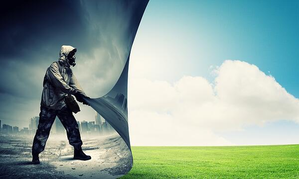 Image of man in gas mask turning page. Ecology concept